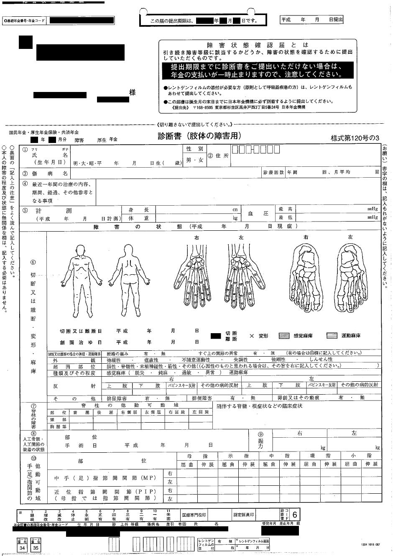 障害状態確認届(表)