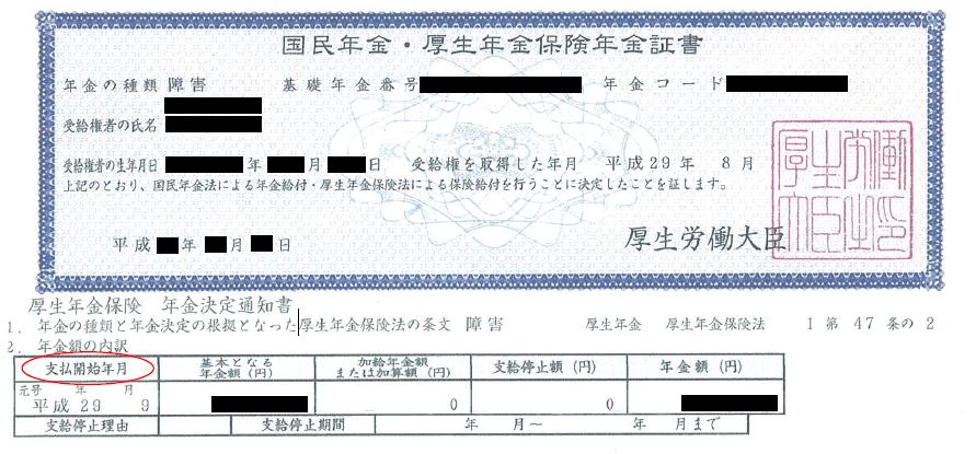 年金証書 支払開始年月