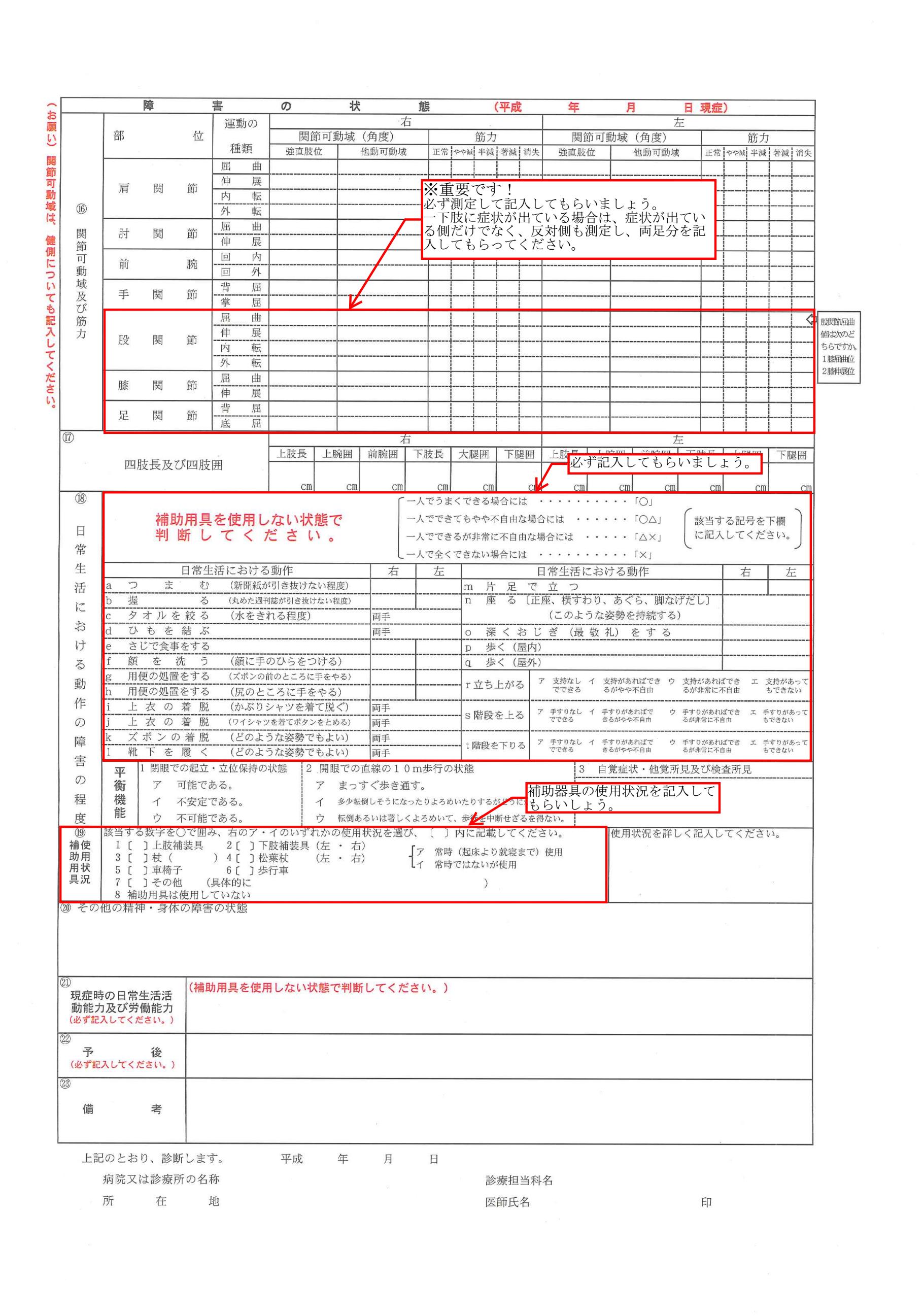 肢体の障害用の診断書の記載例